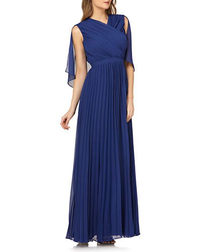 Pleated Chiffon Gown w/ Capelet