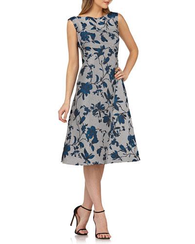 Sleeveless Floral Dress w/ Mitered Stripes