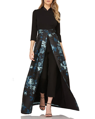 Crepe Jumpsuit w/ Floral Skirt Overlay