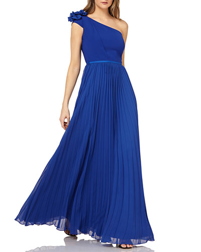 One-Shoulder Chiffon Gown w/ Pleated Skirt