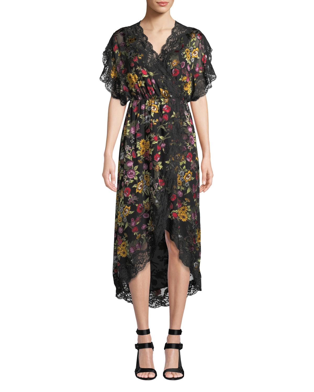 Alice + Olivia Adele Floral Wrap Dress, Black Pattern