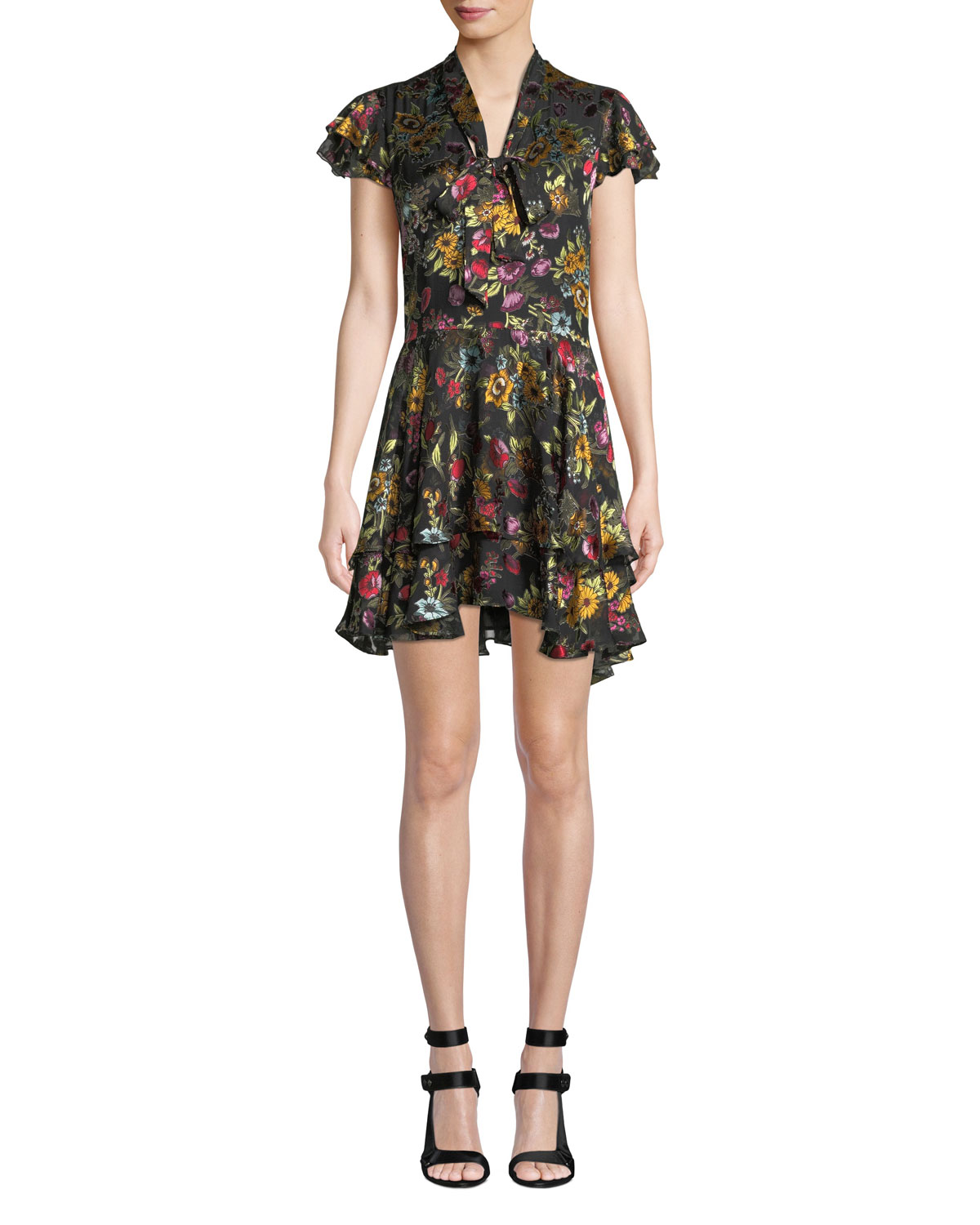 Moore Tie V-Neck Cap-Sleeve Layered Floral-Print Velvet Mini Dress in Black