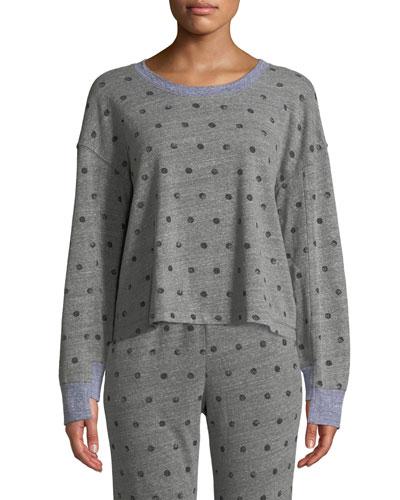 Crewneck Paint-Dot Pullover Sweatshirt