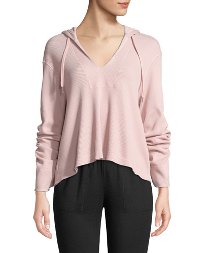 Hooded Long-Sleeve V-Neck Thermal Top
