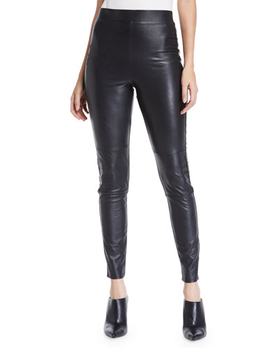 Faux-Leather Pull-On Leggings