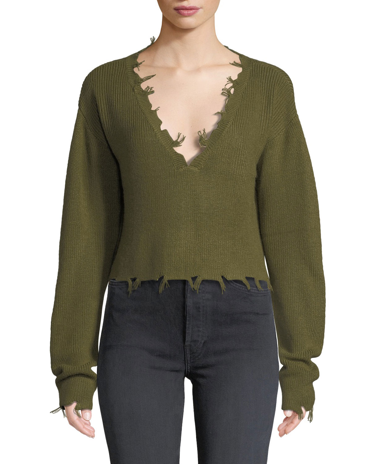 LOVERS+FRIENDS Prospect Frayed Long-Sleeve Cropped Sweater in Green
