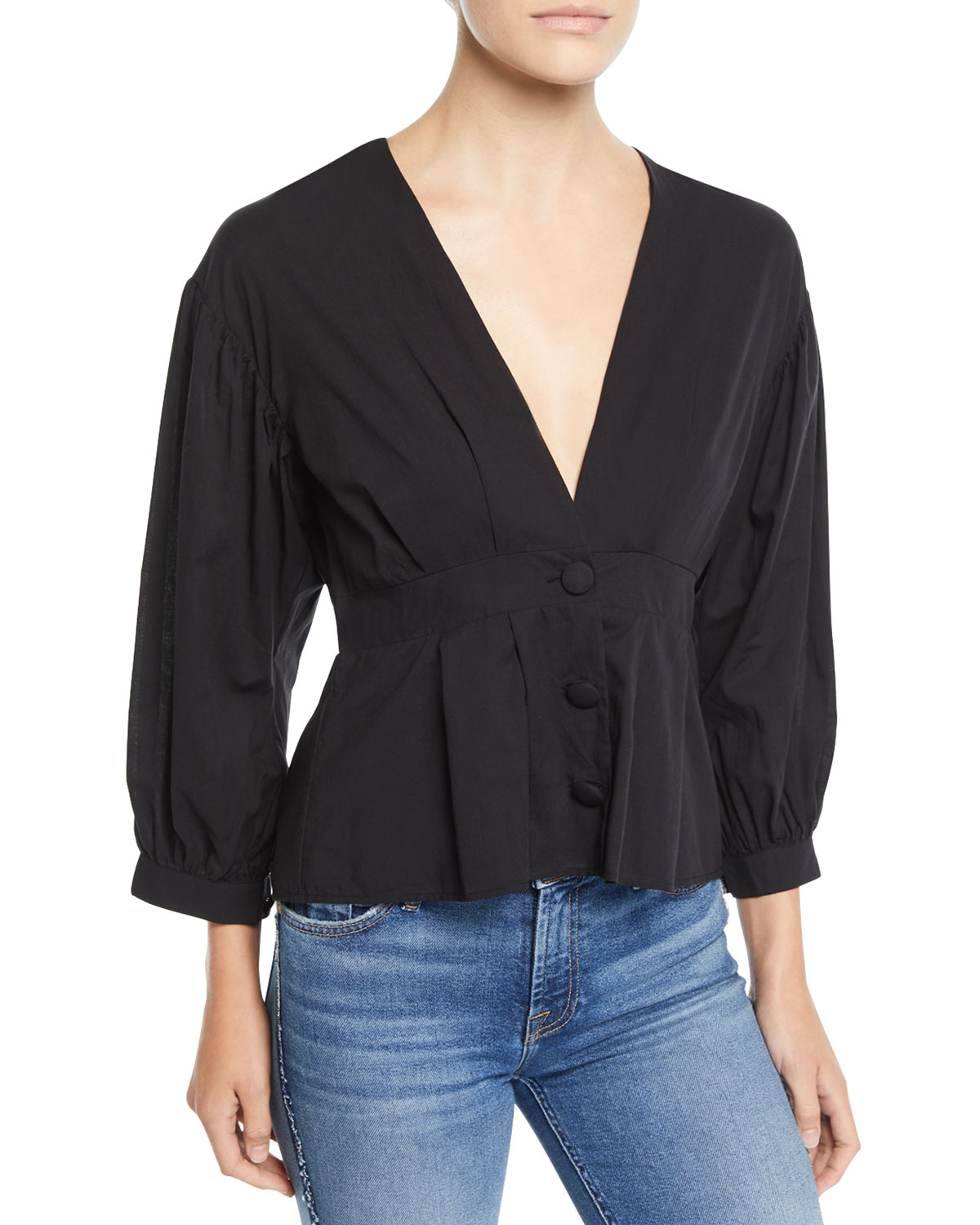 LOVERS+FRIENDS Teegan Cropped Button-Front Blouse in Black