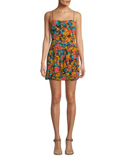 Claudia Floral Ruffle Mini Dress