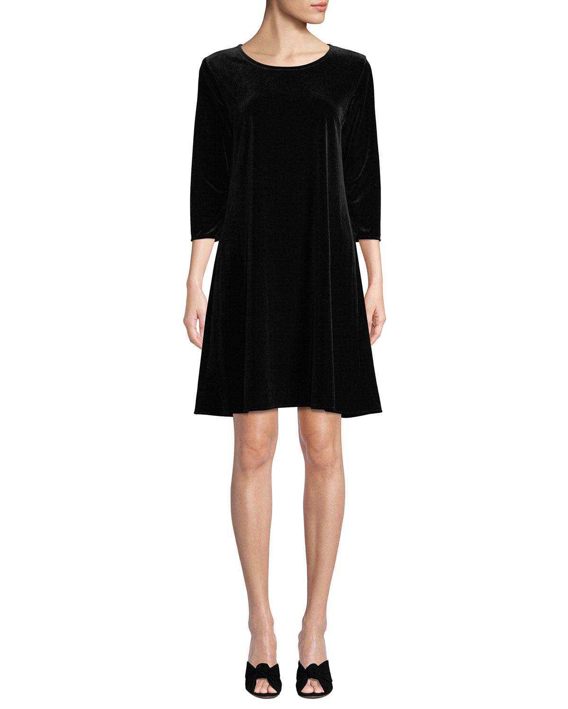 Caroline Rose Dresses PETITE ROUND-NECK 3/4-SLEEVE A-LINE STRETCH-VELVET DRESS