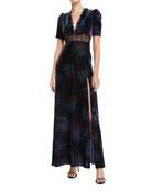 Jill Jill Stuart V-Neck Velvet & Lace Gown