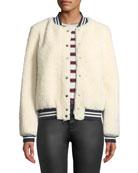 Belle Fare Lamb Fur & Contrast Baseball Jacket