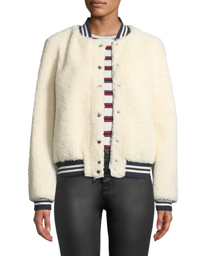 Lamb Fur & Contrast Baseball Jacket