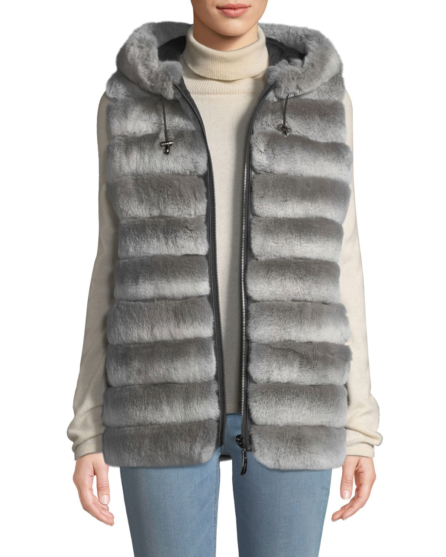BELLE FARE Reversible Fur Vest W/ Hood in Gray Chinchilla