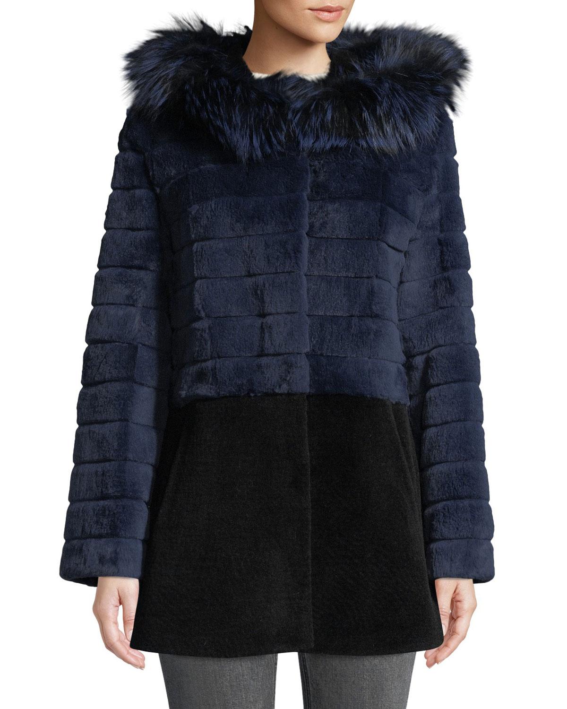 Sheepskin & Rabbit Fur Hooded Coat in Navy