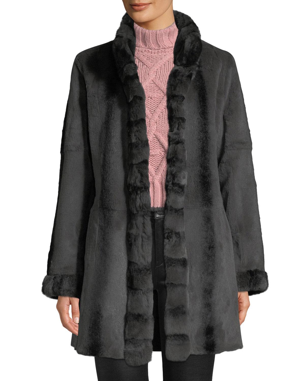 BELLE FARE Reversible Long-Sleeve Rabbit-Trim Coat in Black/Brown