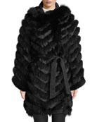 Belle Fare Reversible Silk & Fox Fur Chevron
