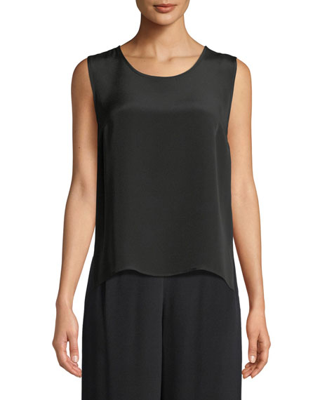 Caroline Rose Plus Size Silk Crepe Mid Tank Top