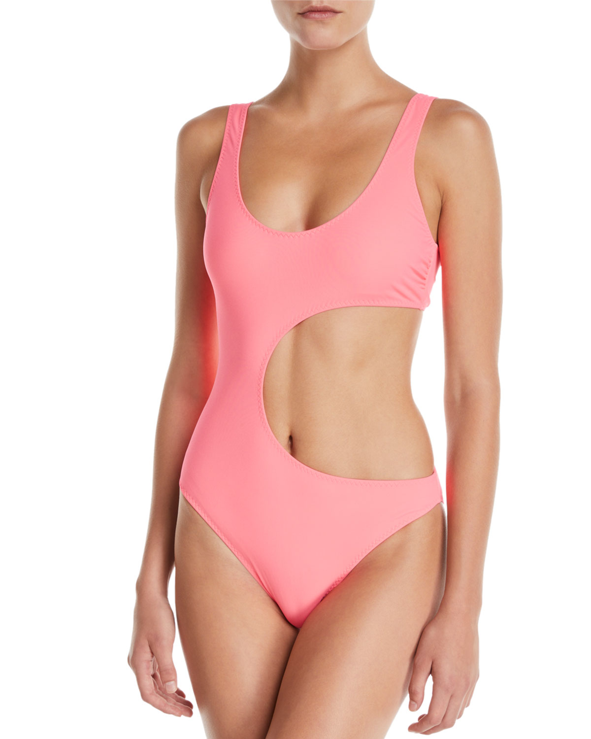 90s Fluo Scoop-Neck Cutout One-Piece Swimsuit