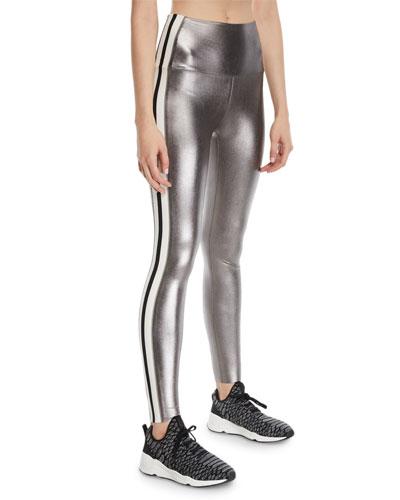 Metallic Side-Stripe Active Leggings