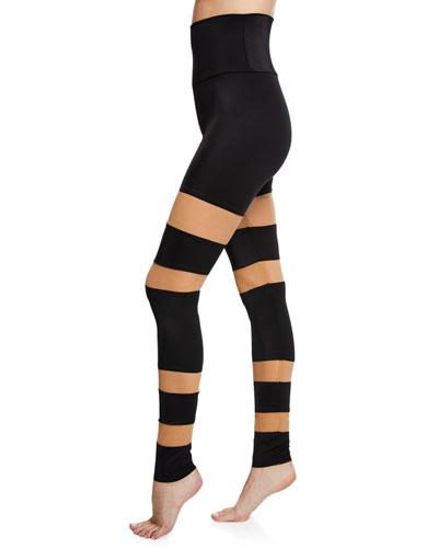 Sheer Block High-Rise Mesh Leggings