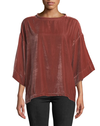 Velvet Drop-Shoulder Top