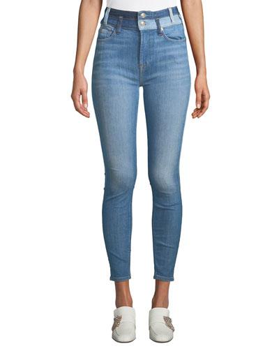 High-Waist Ankle Skinny Jeans w/ Double Waistband