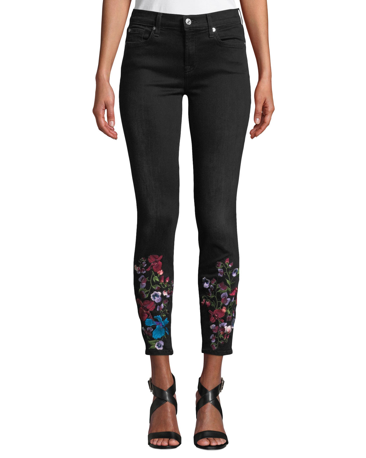 The Ankle Skinny Embroidered Jeans