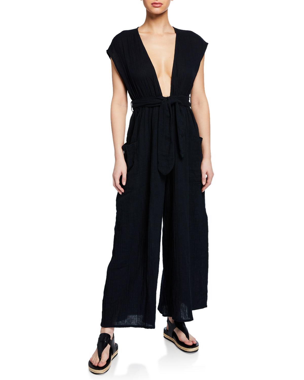 MARA HOFFMAN Whitney Plunging Cap-Sleeve Wide-Leg Cotton Gauze Jumpsuit in Black