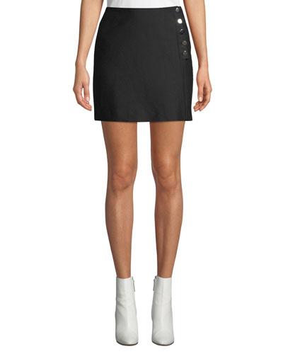 Peach Button-Front Short Skirt