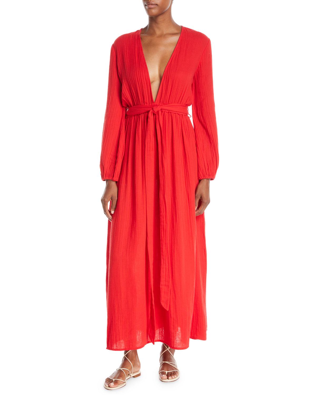 MARA HOFFMAN Luna Plunging Long-Sleeve Cotton Gauze Maxi Dress in Red