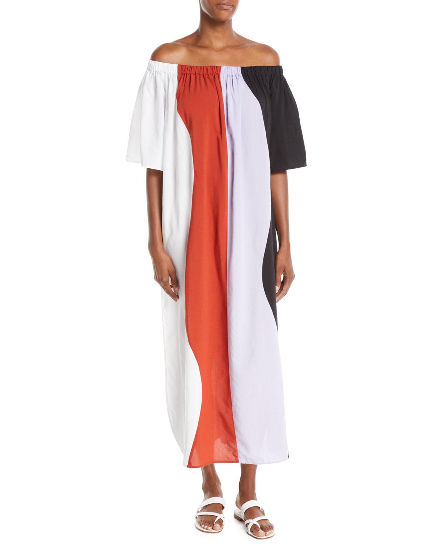 MARA HOFFMAN Sala Off-The-Shoulder Wavy-Stripe Swim Coverup Maxi Dress in Lavender Multi