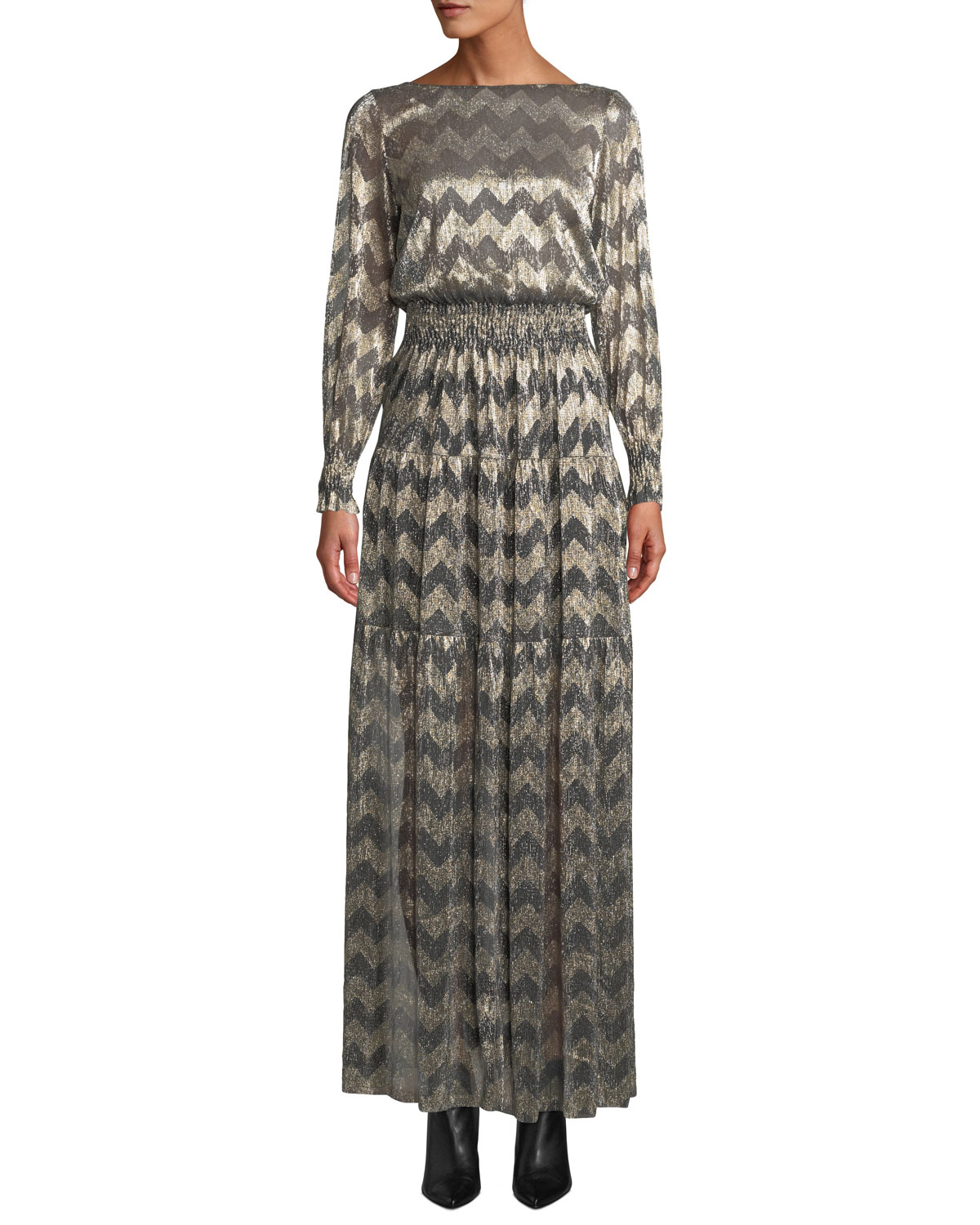 BA&SH Boat-Neck Chevron Stripe Metallic Maxi Dress in Gray