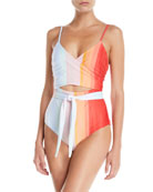 Mara Hoffman Isolde Striped Wraparound One-Piece Swimsuit