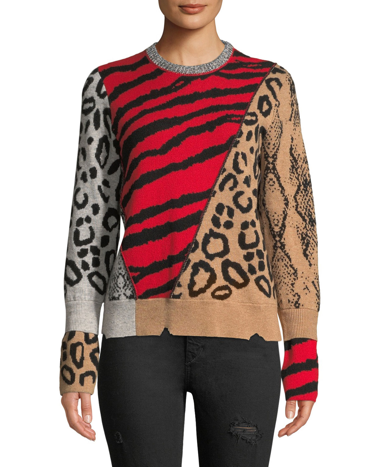 Delly Animal-Print Wool-Cashmere Pullover Sweater