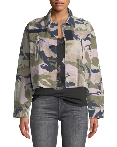 Cropped Camo-Print Military Jacket