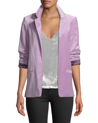 Volly Velour Open-Front Blazer