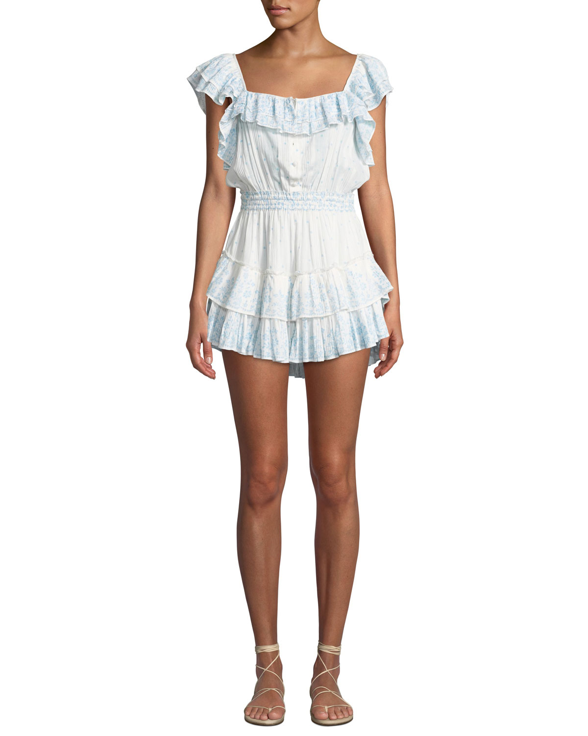 LOVE SHACK FANCY Marina Tiered Floral Ruffle Coverup Dress in Blue