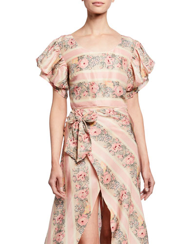 Christine Cropped Floral Silk Top