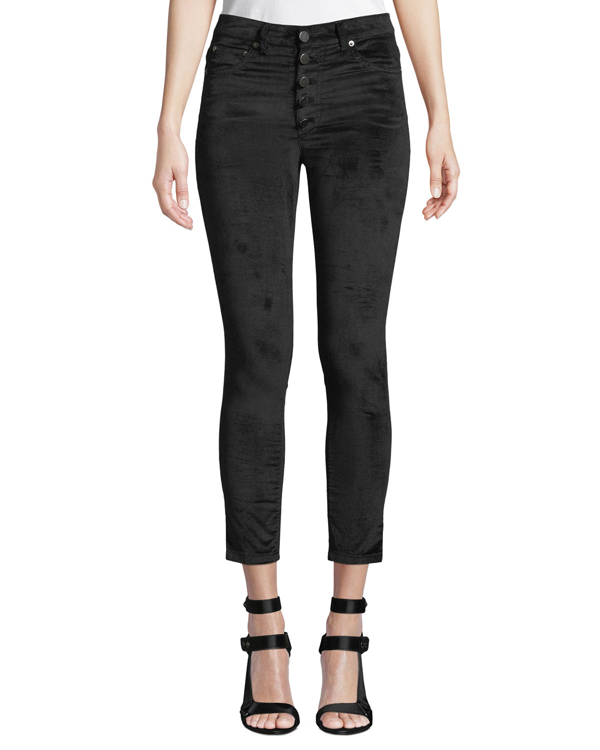 AO.LA BY ALICE+OLIVIA Good High-Rise Button-Fly Velvet Skinny Jeans in Black