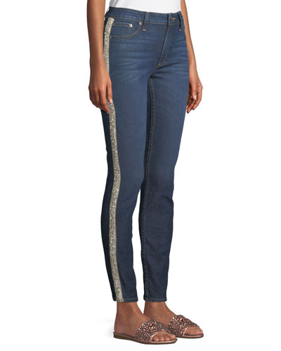Good Mid-Rise Skinny Jeans with Crystal Stripes