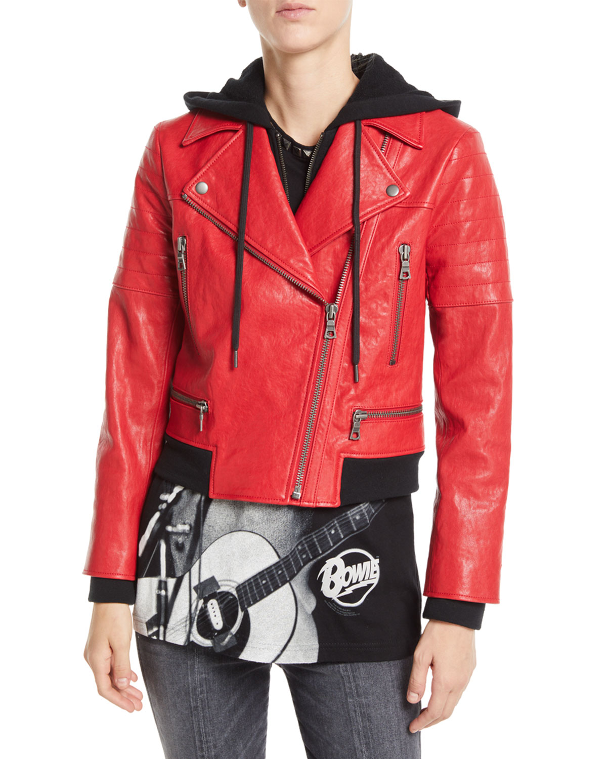 Avril Zip-Front Leather Jacket w/ Sweatshirt Hoodie Combo