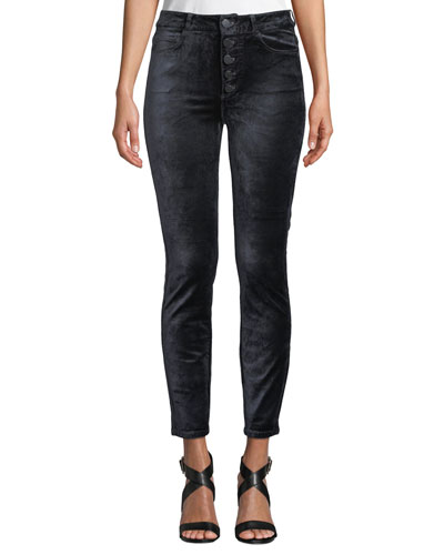 Hoxton Velvet Ankle Skinny Jeans with Button Fly