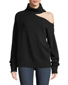 PAIGE Raundi Cold-Shoulder Turtleneck Wool-Blend Sweater
