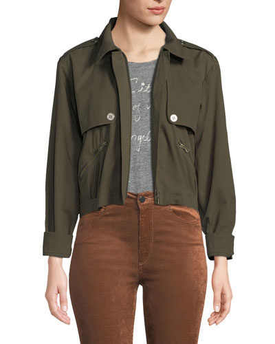 Aubree Cropped Zip-Front Jacket