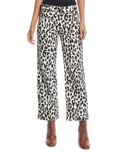 Mid-Rise Cropped Leopard-Print Jeans