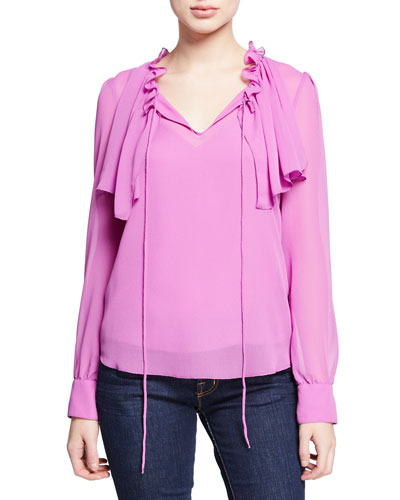 Long-Sleeve Ruffle Tie-Front Blouse