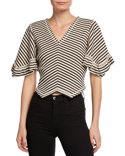 Striped V-Neck Cropped Blouse