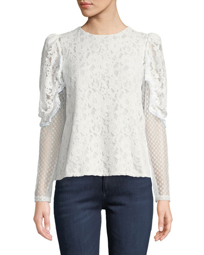 be602ef09cefeb Quick Look. See by Chloe · Long-Sleeve Lace Ruffle Crewneck Blouse.  Available in White