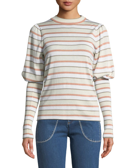 See by Chloe Striped Bishop-Sleeve Knit Sweater