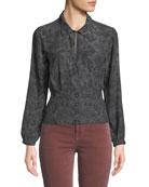 J Brand Lindsey Snake-Print Silk Long-Sleeve Top